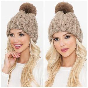 Taupe knit faux fur Pom beanie